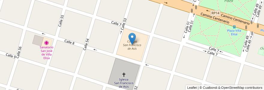 Mapa de ubicacion de Colegio San Francisco de Asís, Villa Elisa en Villa Elisa, Partido De La Plata, Buenos Aires, Argentina.