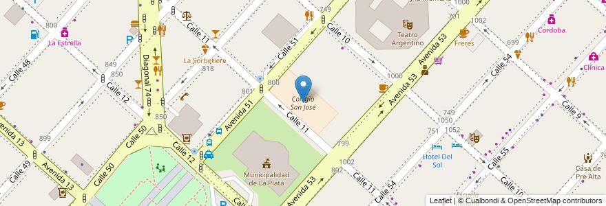 Mapa de ubicacion de Colegio San José, Casco Urbano en La Plata, Partido De La Plata, Buenos Aires, Argentina.