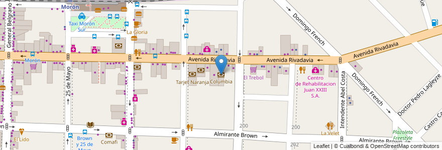 Mapa de ubicacion de Columbia en Argentina, Buenos Aires, Partido De Morón, Morón.