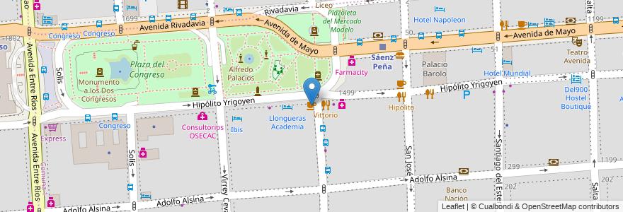 Mapa de ubicacion de Congreso Plaza, Montserrat en Argentina, Ciudad Autónoma De Buenos Aires, Buenos Aires, Comuna 1.