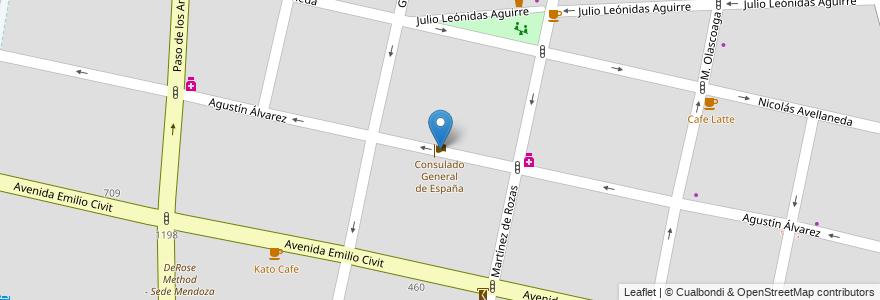 Mapa de ubicacion de Consulado General de España en Argentina, Chile, Mendoza, Departamento Capital, Sección 5ª Residencial Sur, Ciudad De Mendoza.