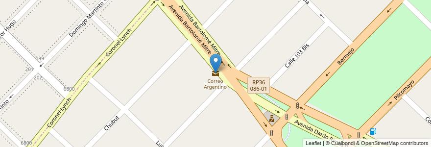 Mapa de ubicacion de Correo Argentino en Argentina, Buenos Aires, Partido De Quilmes.