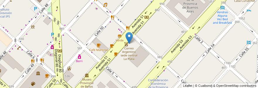 Mapa de ubicacion de Correo Argentino sede central La Plata, Casco Urbano en La Plata, Partido De La Plata, Buenos Aires, Argentina.