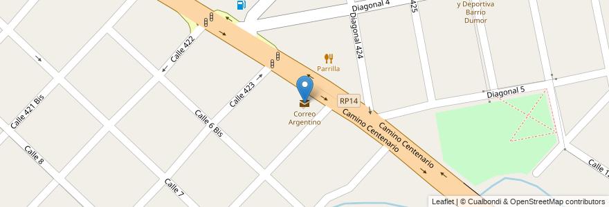 Mapa de ubicacion de Correo Argentino, Villa Elisa en Argentina, Buenos Aires, Partido De La Plata, Villa Elisa.
