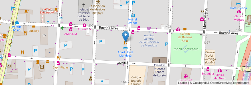Mapa de ubicacion de Cuore Pub Bailable en Argentina, Chile, Mendoza, Departamento Capital, Ciudad De Mendoza, Sección 3ª Parque O'Higgins.