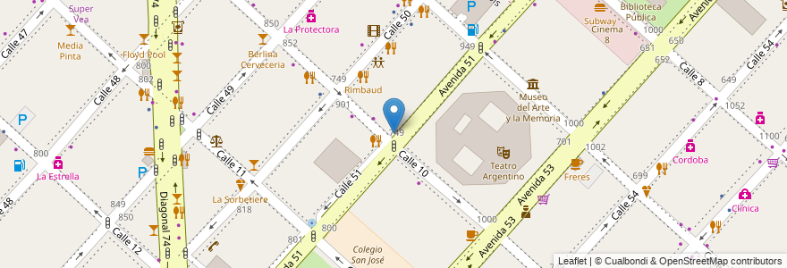 Mapa de ubicacion de Del Nuevo Teatro, Casco Urbano en La Plata, Partido De La Plata, Buenos Aires, Argentina.