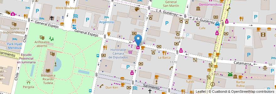 Mapa de ubicacion de Del Puente en Argentina, Chile, Mendoza, Departamento Capital, Ciudad De Mendoza.