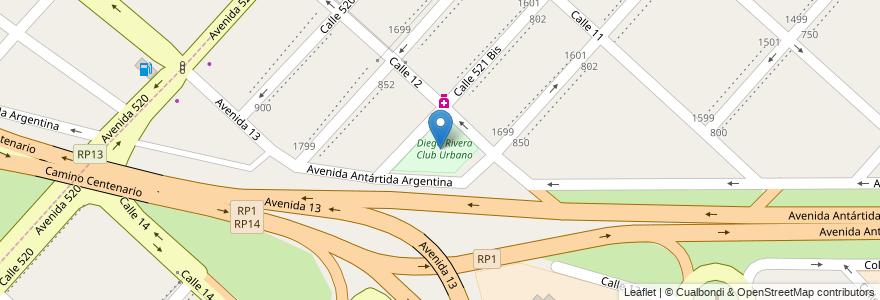 Mapa de ubicacion de Diego Rivera Club Urbano, Tolosa en Tolosa, Partido De La Plata, Buenos Aires, Argentina.