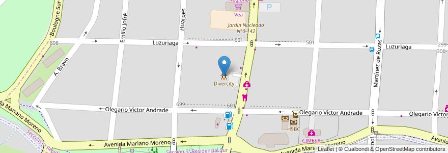 Mapa de ubicacion de Divercity en Argentina, Mendoza, Chile, Departamento Capital, Sección 5ª Residencial Sur, Ciudad De Mendoza.