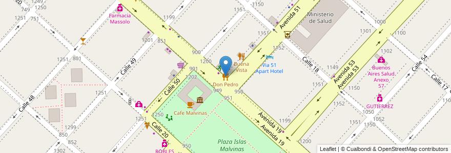 Mapa de ubicacion de Don Pedro, Casco Urbano en Argentina, Buenos Aires, Partido De La Plata, La Plata.