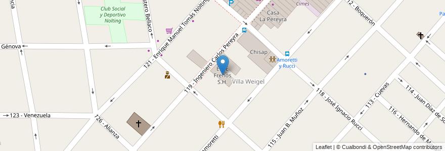 Mapa de ubicacion de EINE Frenos S.H. en Argentina, Buenos Aires, Partido De Tres De Febrero, Ciudadela.