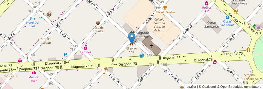 Mapa de ubicacion de El zorro azul, Casco Urbano en La Plata, Partido De La Plata, Buenos Aires, Argentina.