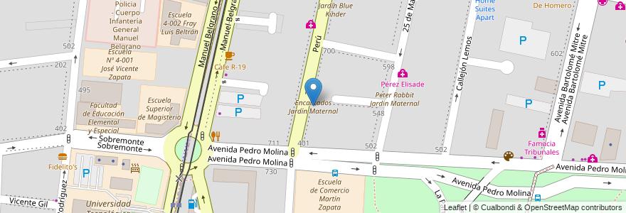 Mapa de ubicacion de Encantados Jardín Maternal en Argentina, Chile, Mendoza, Departamento Capital, Sección 2ª Barrio Cívico, Ciudad De Mendoza.