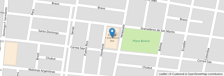 Mapa de ubicacion de Escuela 1-654 Arturo Illia en Argentina, Mendoza, Chile, Departamento Guaymallén, Distrito Belgrano.