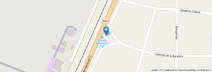 """Mapa de ubicacion de Escuela 24 """"Constancio C. Vigil"""" en Argentina, Santa Fe, Departamento La Capital, Municipio De Sauce Viejo."""