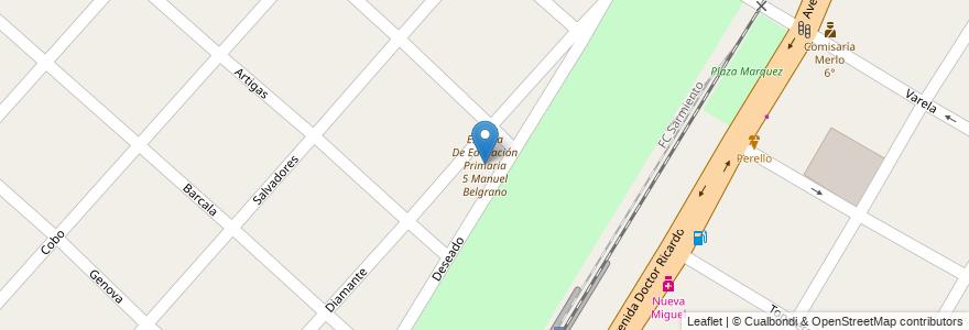 Mapa de ubicacion de Escuela De Educación Primaria 5 Manuel Belgrano en Argentina, Buenos Aires, Partido De Merlo, Mariano Acosta.