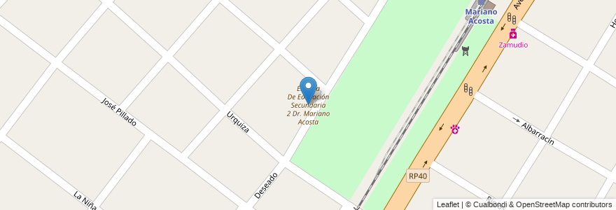 Mapa de ubicacion de Escuela De Educación Secundaria 2 Dr. Mariano Acosta en Argentina, Buenos Aires, Partido De Merlo, Mariano Acosta.