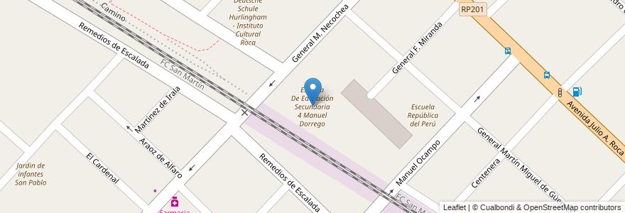 Mapa de ubicacion de Escuela De Educación Secundaria 4 Manuel Dorrego en Argentina, Buenos Aires, Partido De Hurlingham, Hurlingham.