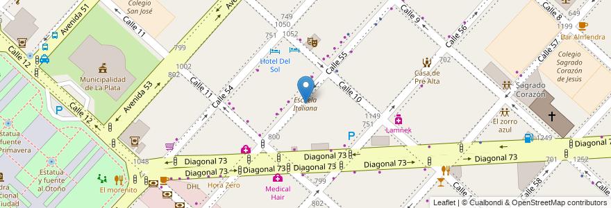 Mapa de ubicacion de Escuela Italiana, Casco Urbano en Argentina, Buenos Aires, Partido De La Plata, La Plata.