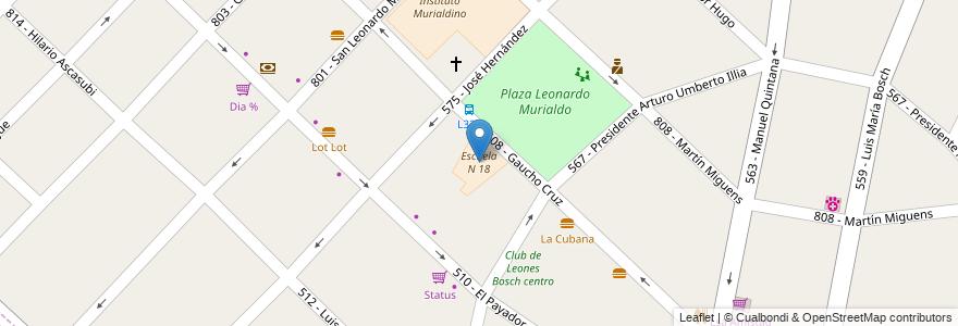 Mapa de ubicacion de Escuela N 18 en Argentina, Buenos Aires, Partido De Tres De Febrero, Villa Bosch.