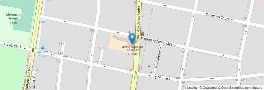 Mapa de ubicacion de Escuela N°4-137 Nieves del Aconcagua en Argentina, Chile, Mendoza, Departamento Capital, Sección 5ª Residencial Sur, Ciudad De Mendoza.