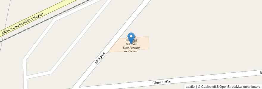 Mapa de ubicacion de Escuela Nº 1-719 Yolanda Ema Pezzutti de Corsino en Argentina, Mendoza, Departamento Guaymallén, Distrito Colonia Segovia.