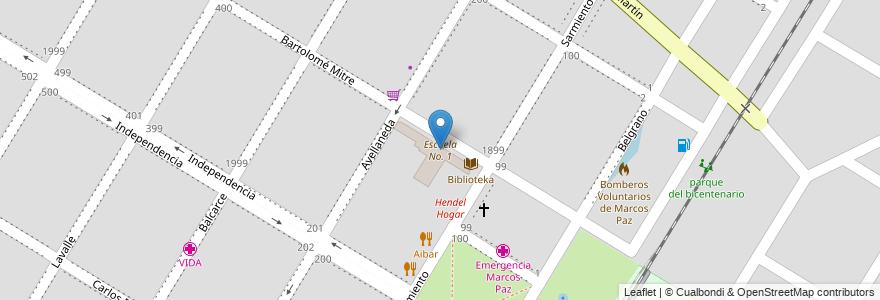 Mapa de ubicacion de Escuela No. 1 en Argentina, Buenos Aires, Partido De Marcos Paz, Marcos Paz.