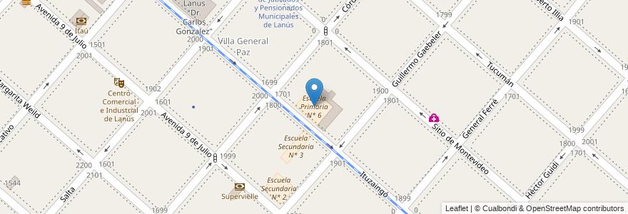 Mapa de ubicacion de Escuela Primaria N* 6 en Argentina, Buenos Aires, Partido De Lanús, Lanús Este.