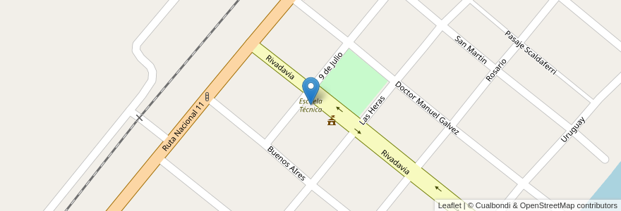 Mapa de ubicacion de Escuela Técnica en Argentina, Santa Fe, Departamento La Capital, Municipio De Sauce Viejo.