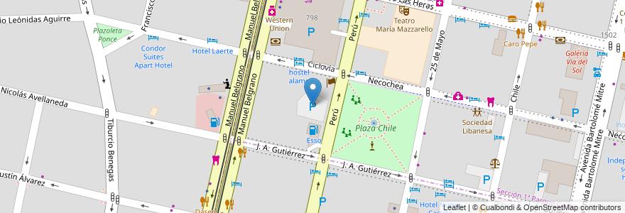 Mapa de ubicacion de Estacionamiento 24hs en Argentina, Chile, Mendoza, Departamento Capital, Ciudad De Mendoza.