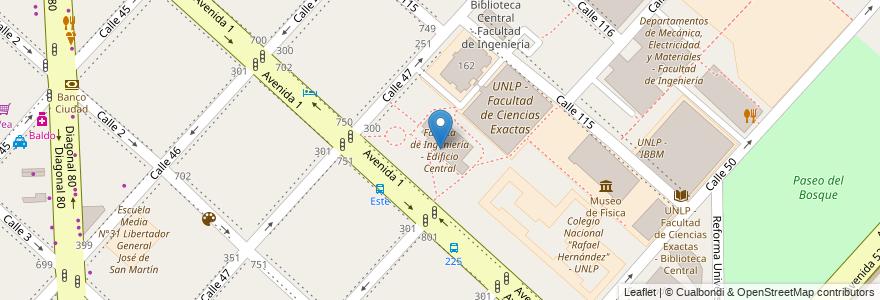 Mapa de ubicacion de Faculta de Ingeniería - Edificio Central, Casco Urbano en Argentina, Buenos Aires, Partido De La Plata, La Plata.
