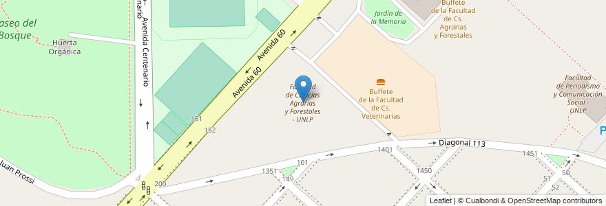 Mapa de ubicacion de Facultad de Ciencias Agrarias y Forestales - UNLP, Casco Urbano en Argentina, Buenos Aires, Partido De La Plata, La Plata.