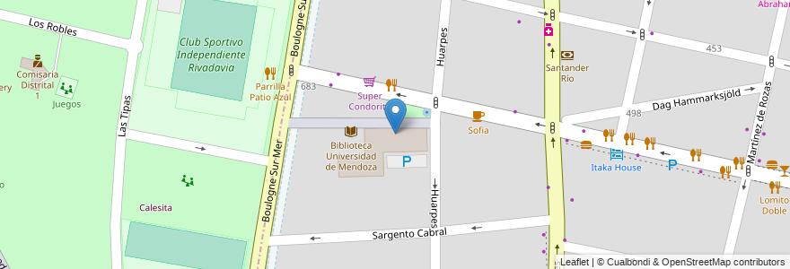 Mapa de ubicacion de Facultad de Ciencias de la Salud - UM en Argentina, Mendoza, Chile, Departamento Capital, Sección 5ª Residencial Sur, Ciudad De Mendoza.