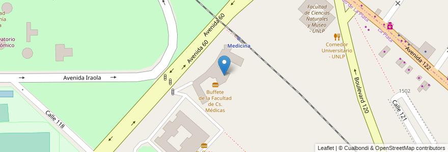 Mapa de ubicacion de Facultad de Ciencias Médicas - UNLP, Casco Urbano en La Plata, Partido De La Plata, Buenos Aires, Argentina.