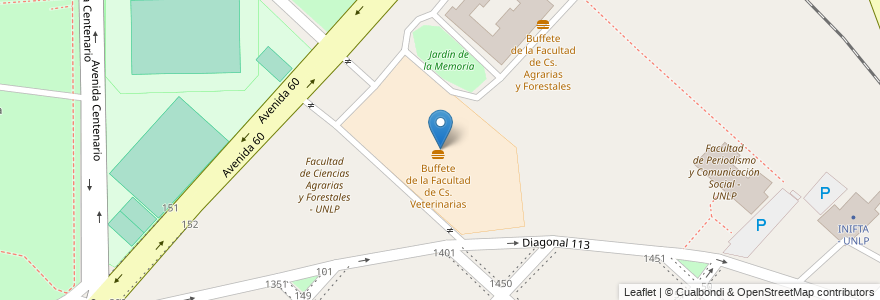Mapa de ubicacion de Facultad de Ciencias Veterinaria - UNLP, Casco Urbano en Argentina, Buenos Aires, Partido De La Plata, La Plata.
