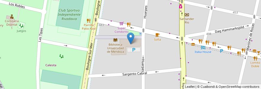 Mapa de ubicacion de Facultad Relaciones Internacionales - UM en Argentina, Mendoza, Chile, Departamento Capital, Sección 5ª Residencial Sur, Ciudad De Mendoza.