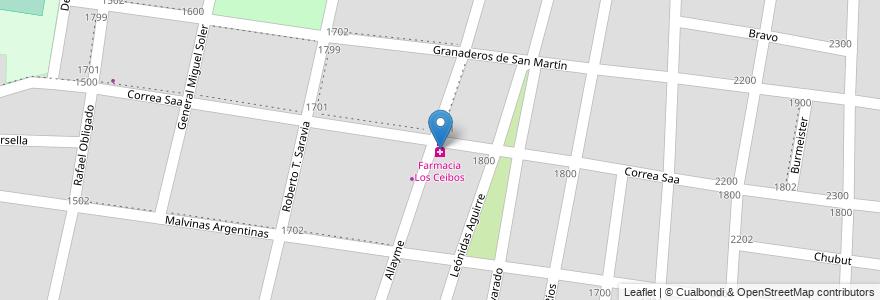 Mapa de ubicacion de Farmacia Los Ceibos en Argentina, Mendoza, Chile, Departamento Guaymallén, Distrito Belgrano.