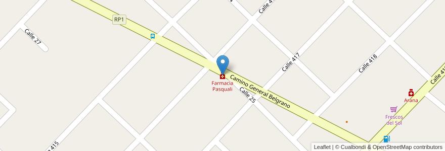 Mapa de ubicacion de Farmacia Pasquali en Argentina, Buenos Aires, Partido De La Plata, Villa Elisa.