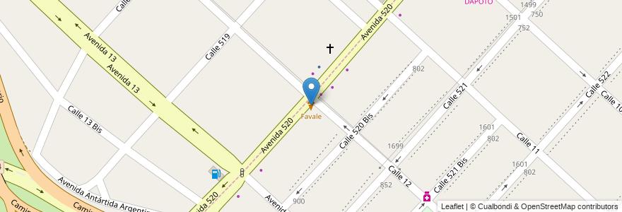 Mapa de ubicacion de Favale, Tolosa en Argentina, Buenos Aires, Partido De La Plata, Tolosa.