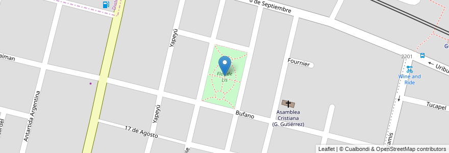 Mapa de ubicacion de Flor de Lis en Argentina, Chile, Mendoza, Departamento Maipú, Distrito Gutiérrez, Maipú.