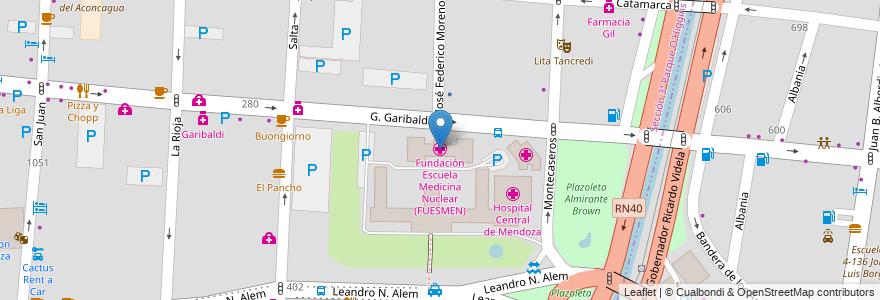Mapa de ubicacion de Fundación Escuela Medicina Nuclear (FUESMEN) en Argentina, Chile, Mendoza, Departamento Capital, Ciudad De Mendoza, Sección 3ª Parque O'Higgins.