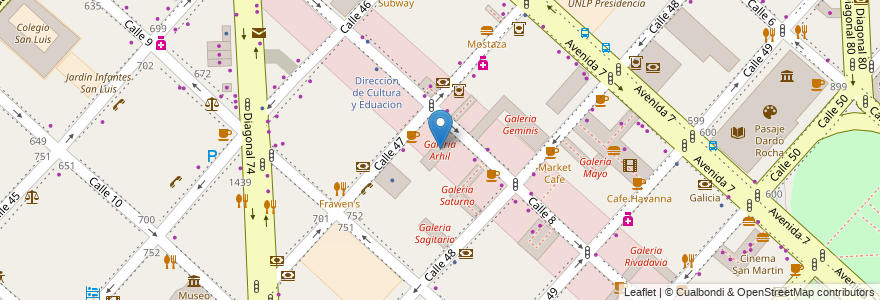 Mapa de ubicacion de Galeria Arhil, Casco Urbano en La Plata, Partido De La Plata, Buenos Aires, Argentina.