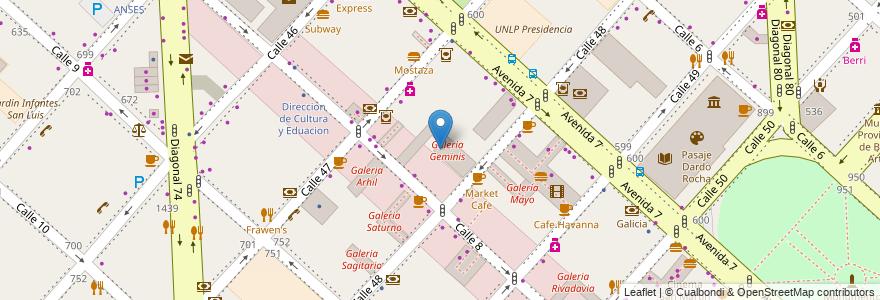 Mapa de ubicacion de Galeria Geminis, Casco Urbano en Argentina, Buenos Aires, Partido De La Plata, La Plata.