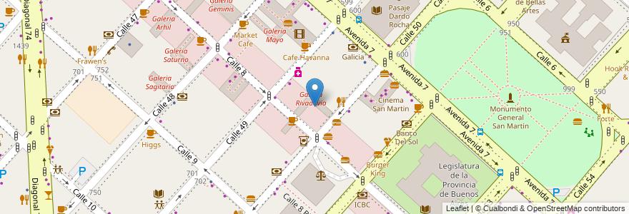 Mapa de ubicacion de Galeria Rivadavia, Casco Urbano en La Plata, Partido De La Plata, Buenos Aires, Argentina.