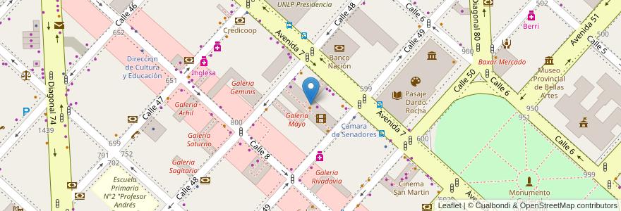 Mapa de ubicacion de Galeria Rocha, Casco Urbano en La Plata, Partido De La Plata, Buenos Aires, Argentina.