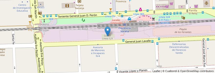 Mapa de ubicacion de Garaje Línea 129 en Argentina, Buenos Aires, Partido De Florencio Varela, Florencio Varela.