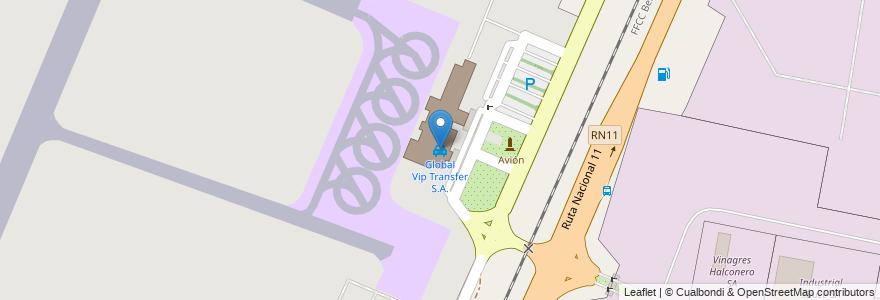 Mapa de ubicacion de Global Vip Transfer S.A. en Argentina, Santa Fe, Departamento La Capital, Municipio De Sauce Viejo.
