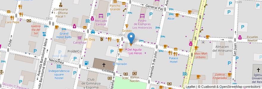 Mapa de ubicacion de Griddo en Argentina, Chile, Mendoza, Departamento Capital, Ciudad De Mendoza.