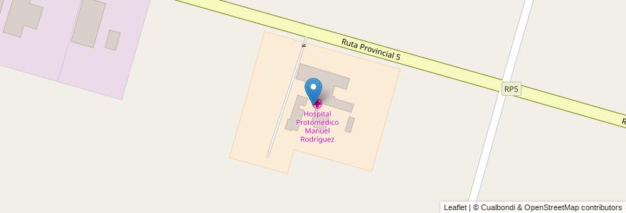 Mapa de ubicacion de Hospital Protomédico Manuel Rodríguez en Argentina, Santa Fe, Departamento La Capital, Municipio De Recreo.