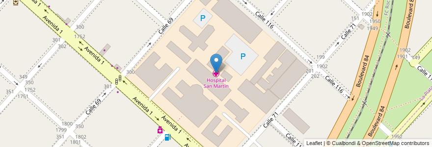 Mapa de ubicacion de Hospital San Martín, Casco Urbano en La Plata, Partido De La Plata, Buenos Aires, Argentina.
